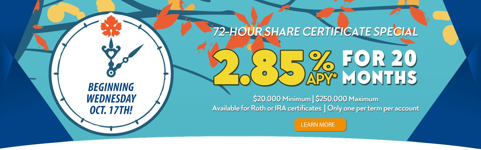 2.85% APY Share Cert Special