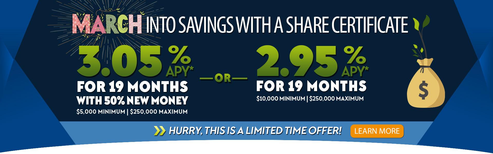 3.05% APY Share Cert